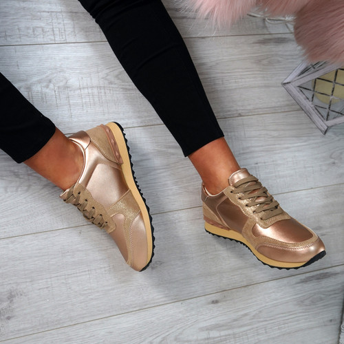 Nolla Champagne Lace Up Trainers
