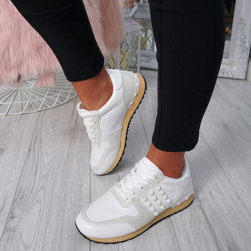 Nolla White Lace Up Trainers