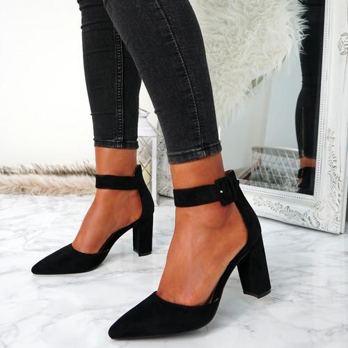 Bim Black Ankle Strap Pumps