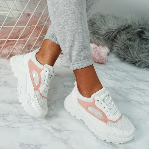 Fiza White Pink Chunky Sneakers