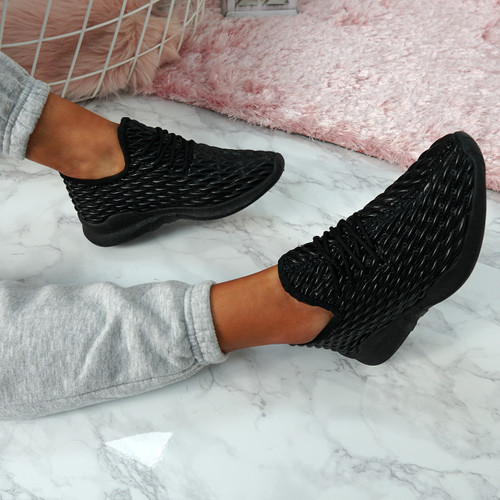 Sonia Black Quilted Trainers