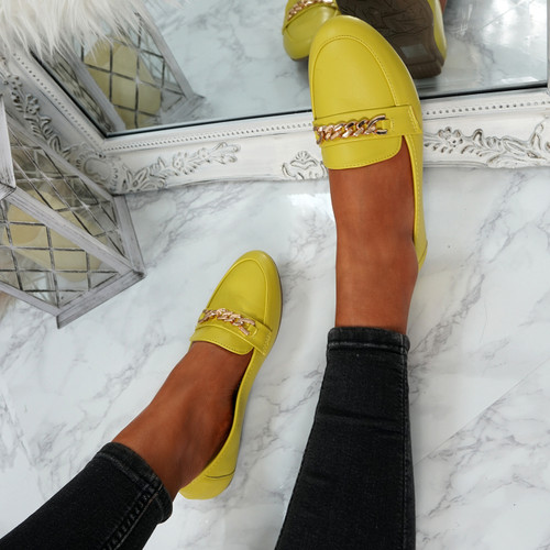 Pya Yellow Chain Ballerinas
