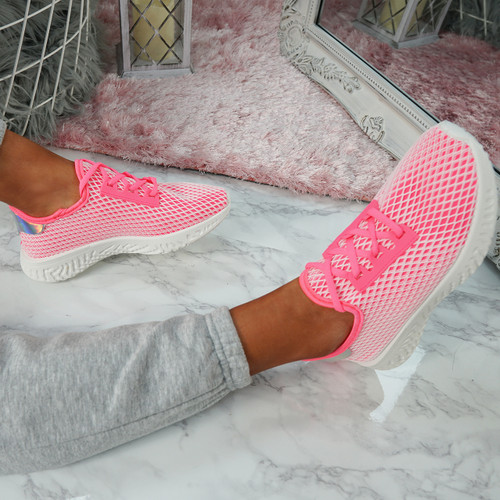 Nayra Peach Red Mesh Trainers