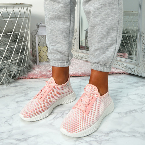 Nayra Pink Mesh Trainers