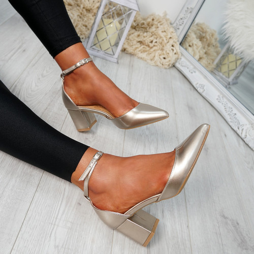 Canna Gold Ankle Strap Pumps