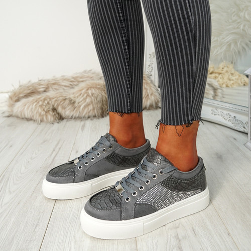 Jina Grey Snake Trainers