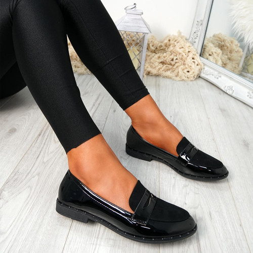 Flinna Black Patent Ballerinas