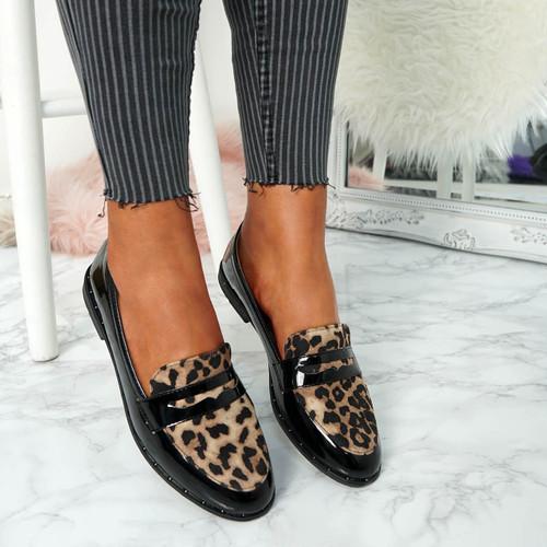 Flinna Black Leopard Ballerinas