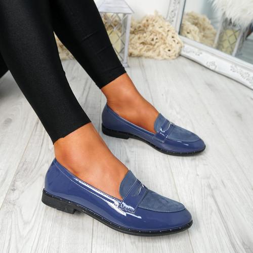 Flinna Blue Patent Ballerinas