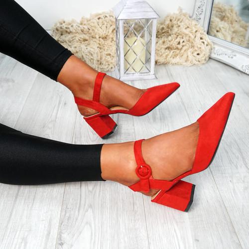 Nattie Red Block Heel Pumps
