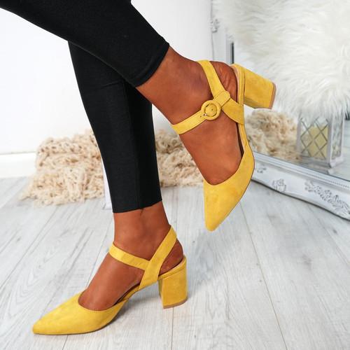 Nattie Yellow Block Heel Pumps