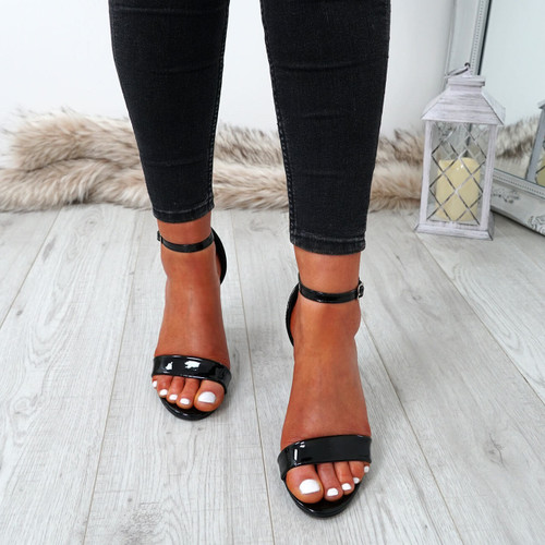 Nove Black Block Heel Sandals