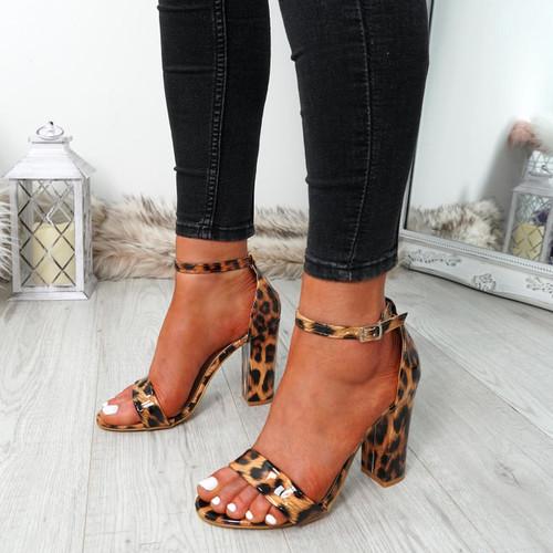 Nove Leopard Block Heel Sandals