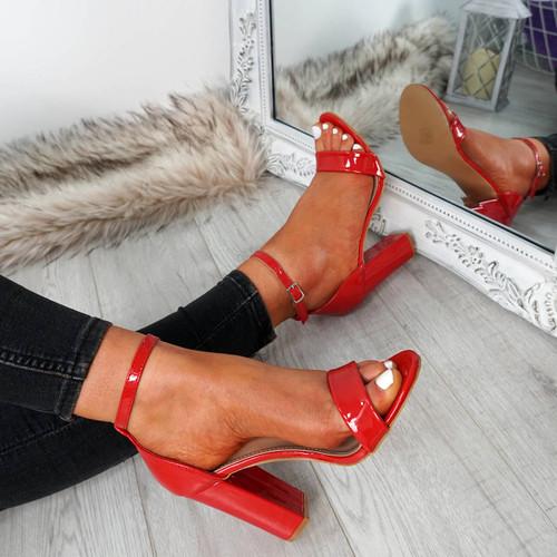 Nove Red Block Heel Sandals