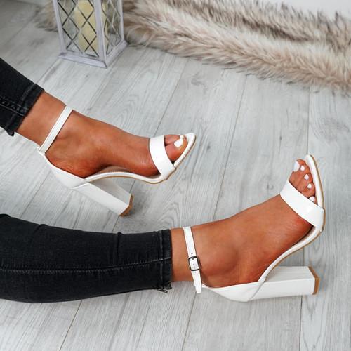 Nove White Block Heel Sandals