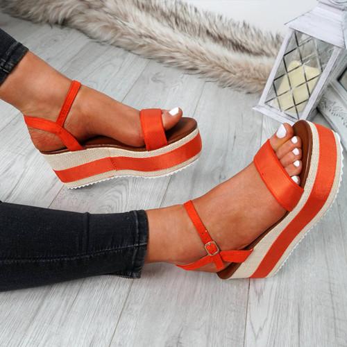 Doffie Orange Flatform Sandals