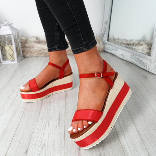 Doffie Red Flatform Sandals
