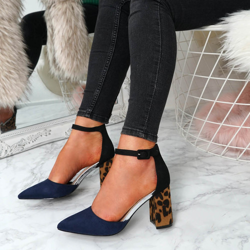 Clais Blue Block Heel Pumps