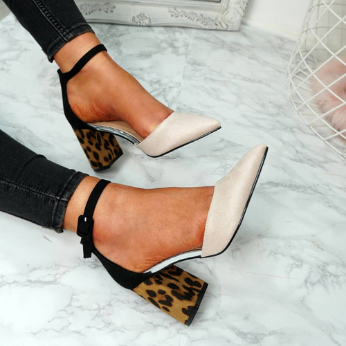 Clais Nude Block Heel Pumps
