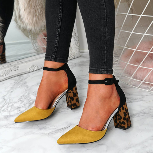 Clais Yellow Block Heel Pumps