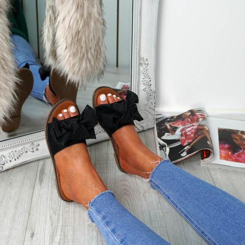 Nerva Black Bow Flat Sandals