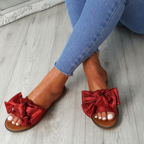 Nerva Red Bow Flat Sandals