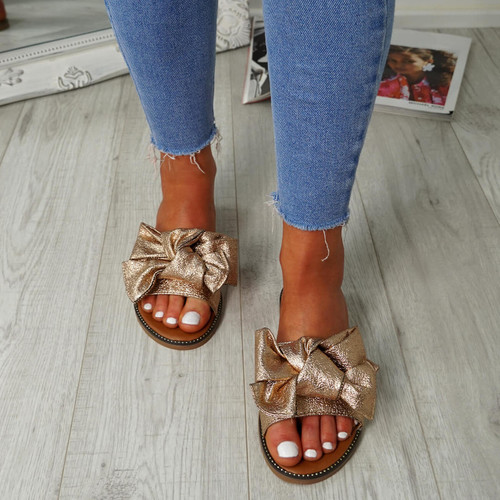 Nerva Rose Gold Bow Flat Sandals