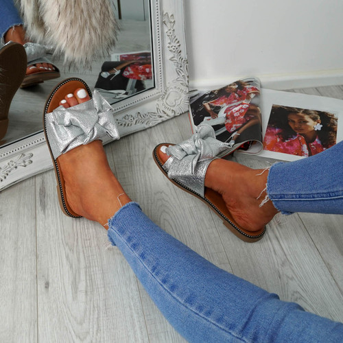 Nerva Silver Bow Flat Sandals