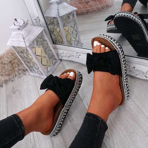 Cannya Black Bow Flatforms