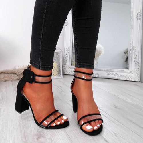 Vinna Black Block Heel Sandals