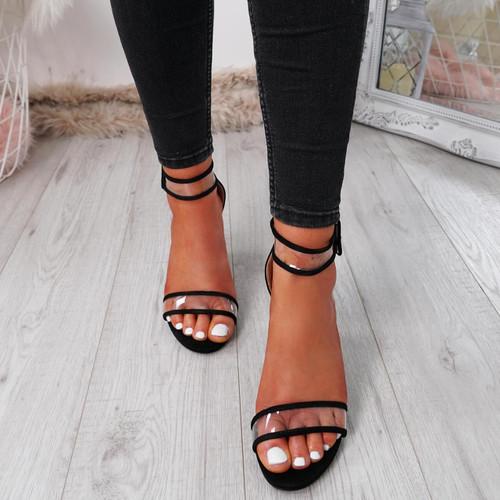 84450d18b56 Womens Ladies Ankle Strap Peep Toe High Block Heel Sandals Fashion Shoes