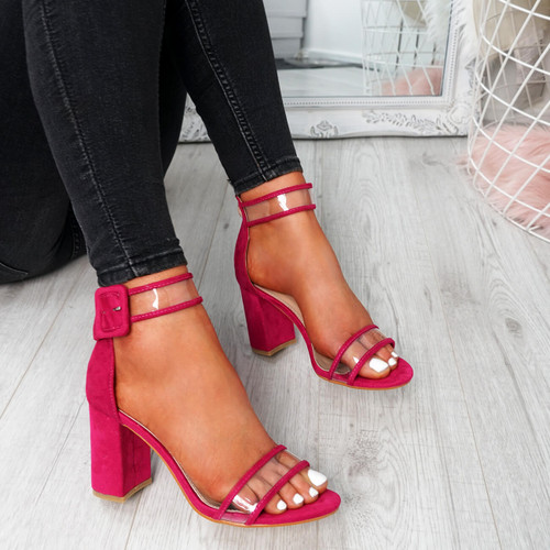 Vinna Fuchsia Block Heel Sandals