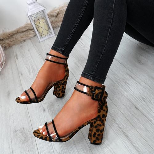 Vinna Leopard Block Heel Sandals