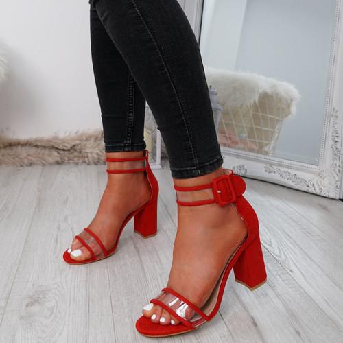 Vinna Red Block Heel Sandals