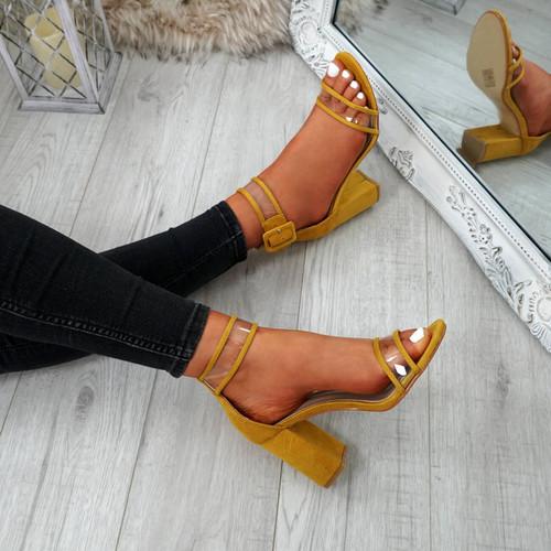 Vinna Yellow Block Heel Sandals