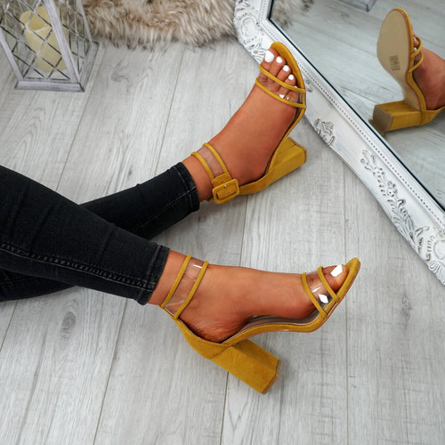 Vinna Yellow Block Heel Sandals