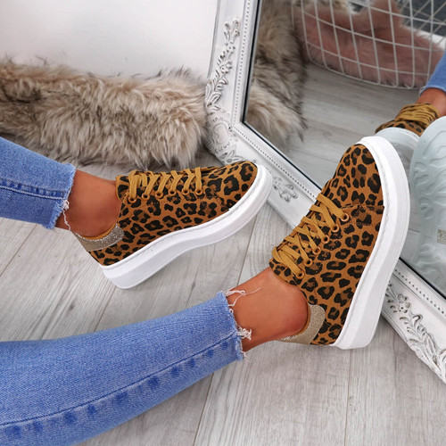 Picma Leopard Lace Up Trainers