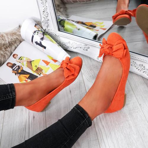 Mira Orange Bow Ballerinas