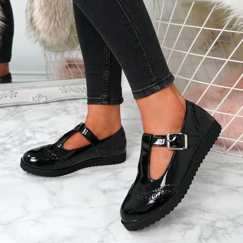 Thalka Black T Bar Loafers