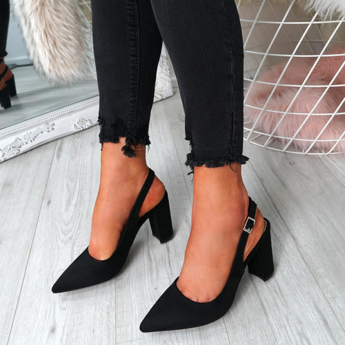 Lico Black Sling Back Pumps