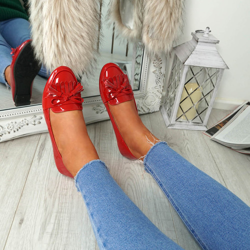 Huga Red Fringe Ballerinas