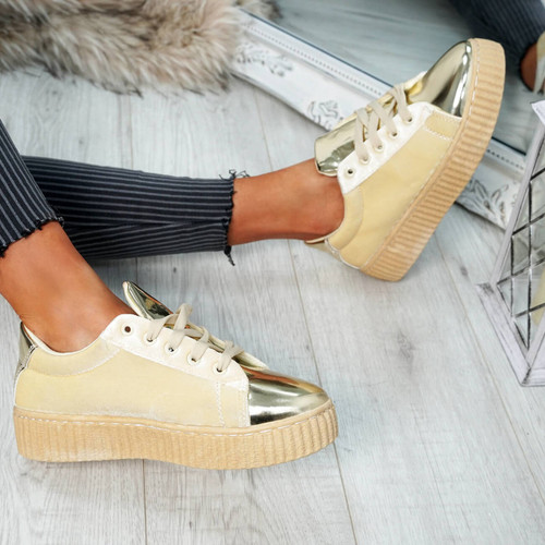 Izar Beige Gold Lace Up Trainers