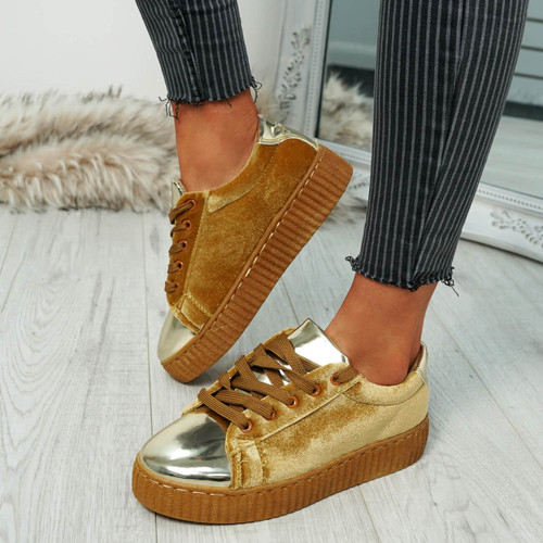 Izar Camel Gold Lace Up Trainers