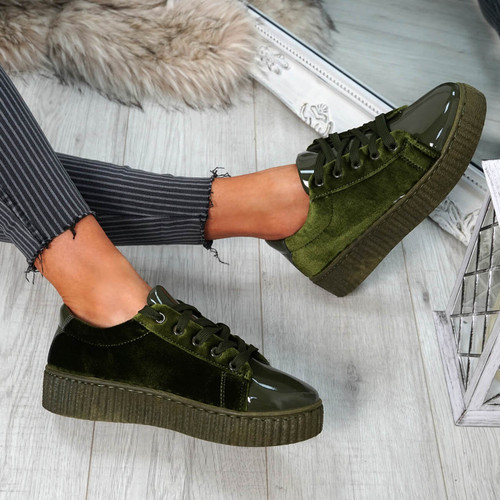 Izar Green Lace Up Trainers