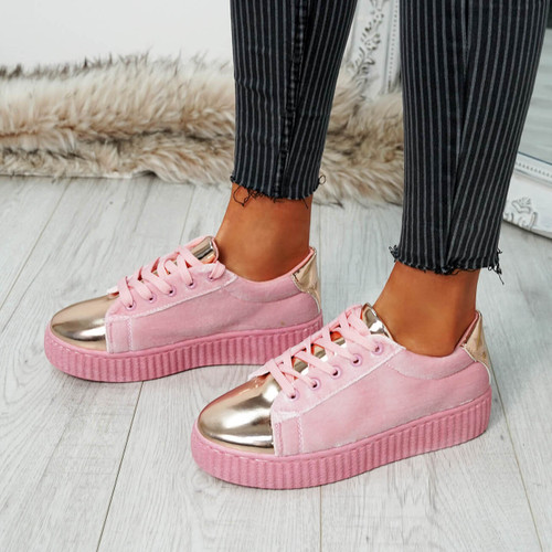 Izar Pink Champagne Lace Up Trainers