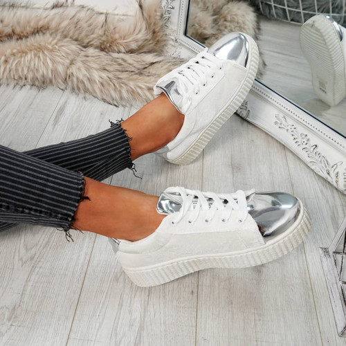 Izar White Silver Lace Up Trainers
