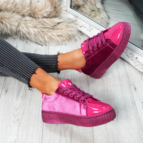 Izar Wine Red Lace Up Trainers