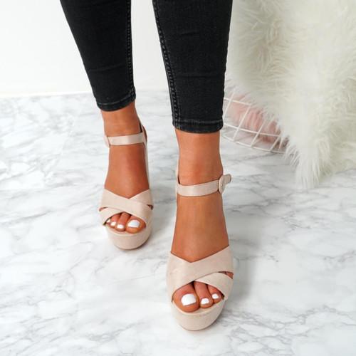 Tino Nude Block Heel Sandals