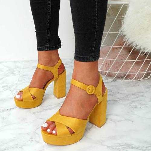 Tino Yellow Block Heel Sandals