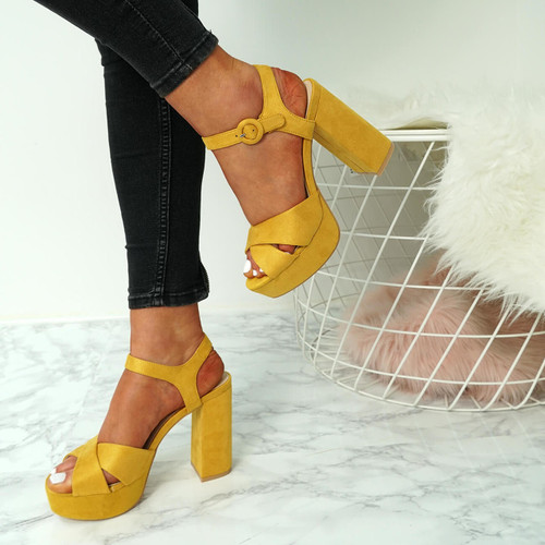 Womens Ladies High Block Chunky Heels Sandals Platforms Ankle Strap ...